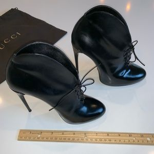 Gucci Patent Leather Lace Up Spike Heel Booties